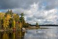 River,autumn,clouds,island,minnesota