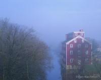 iowa, fog, river, mill, grist mill