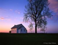 morning light, reflecting, windows, schoolhouse, town hall, minnesota