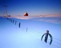 fence, sky, snow, otter tail, minnesota, rural