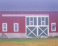 barn, minnesota, fog, barn doors