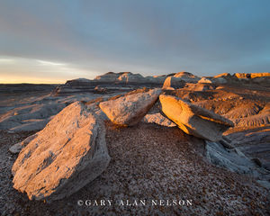 Petrified Forest National Park, national park, arizona, boulders, dusk