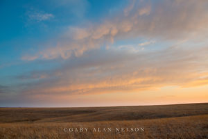 tallgrass prairie, flint hills, kansas, clouds, dusk
