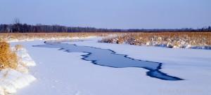 sunrise river, winter