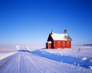 Red Schoolhouse in Winter