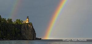 lake superior,lighthouse,minnesota,rainbow,state park,storm