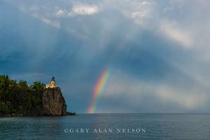 lake superior, split rock, minnesota, rainbow, lighthouse