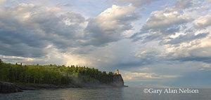 fog,lake superior,lighthouse,minnesota,state park,storm