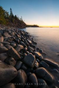 cobble beach, minnesota, state park, lake superior, split rock, dawn, beach