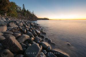 lake superior, minnesota, split rock, state park, dawn, cobble beach