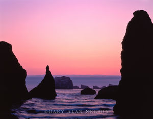 Bandon, Oregon, seastacks, pacific ocean, dusk