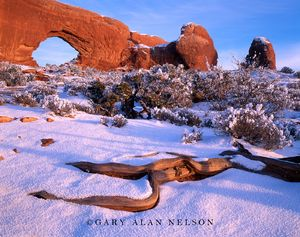 Arches National Park, Utah, hoar frost, north window