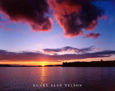 moosehead lake, maine, lily bay state park, sunset, crimson