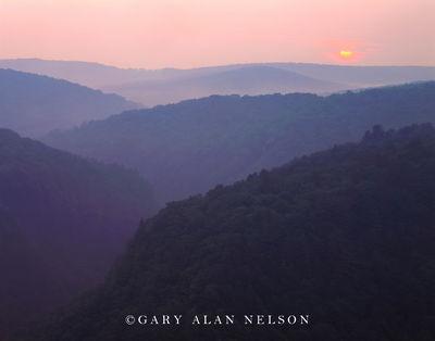 pennsylvania, hog backs, setting sun, state park