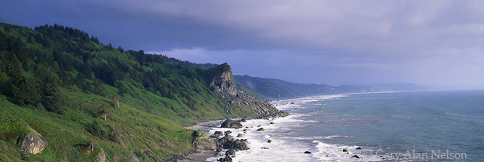 CA-00-1P-NP Pacific Ocean coast under menacing skies, Redwood National Park, California