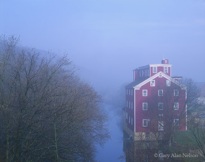 iowa, fog, river, mill, grist mill, photo