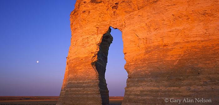 Monument Rocks National Monument, Kansas, moon, photo