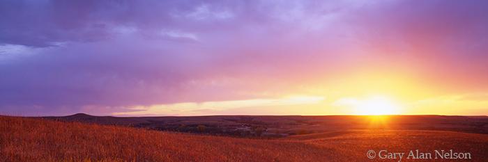 KS-97-2P-NA Sinking sun lighting up the Konza Prairie in the Flint Hills, The Nature Conservancy, Kansas