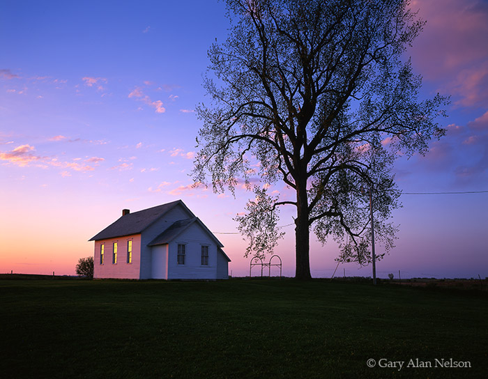 morning light, reflecting, windows, schoolhouse, town hall, minnesota, photo