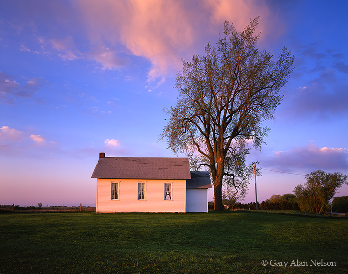 minnesota, morning, clouds, light, reflecting, windows, schoolhouse, town hall, photo