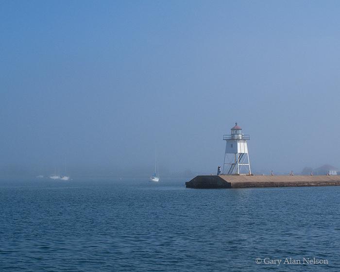 MN-11-156-LS Grand Marais Lighthouse in fog, Lake Superior, Minnesota