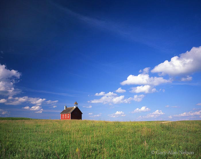 Minnesota, otter tail, schoolhouse, red, clouds, photo