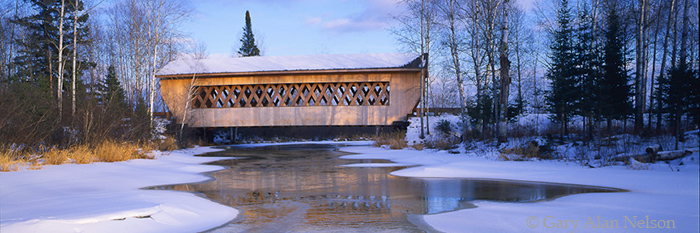 smoth rapids covered bridge, wisconsin, chequamegon national forest, photo