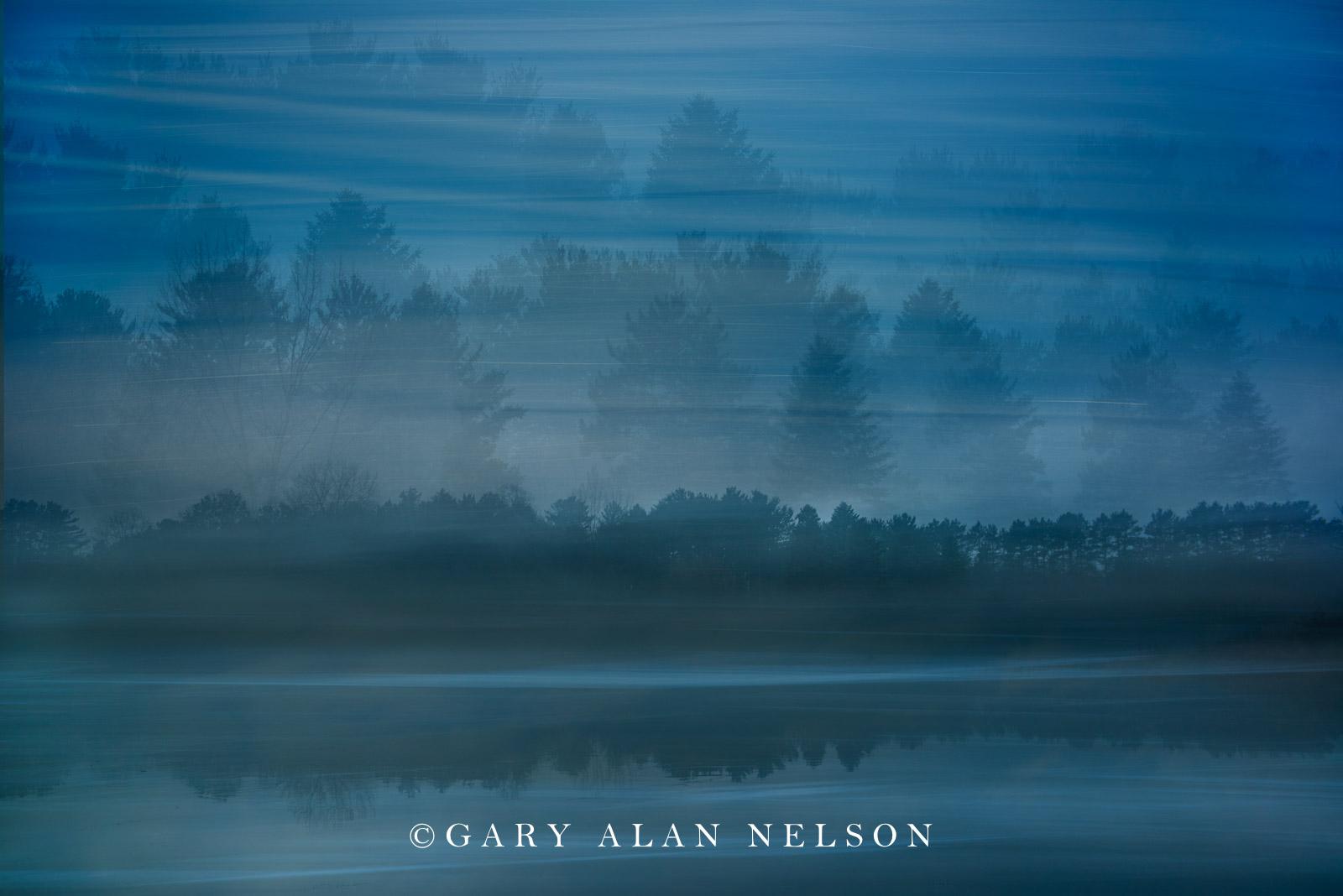 Clouds and fog over Bull Lake, Allemansratt Park, Lindstrom, Minnesota