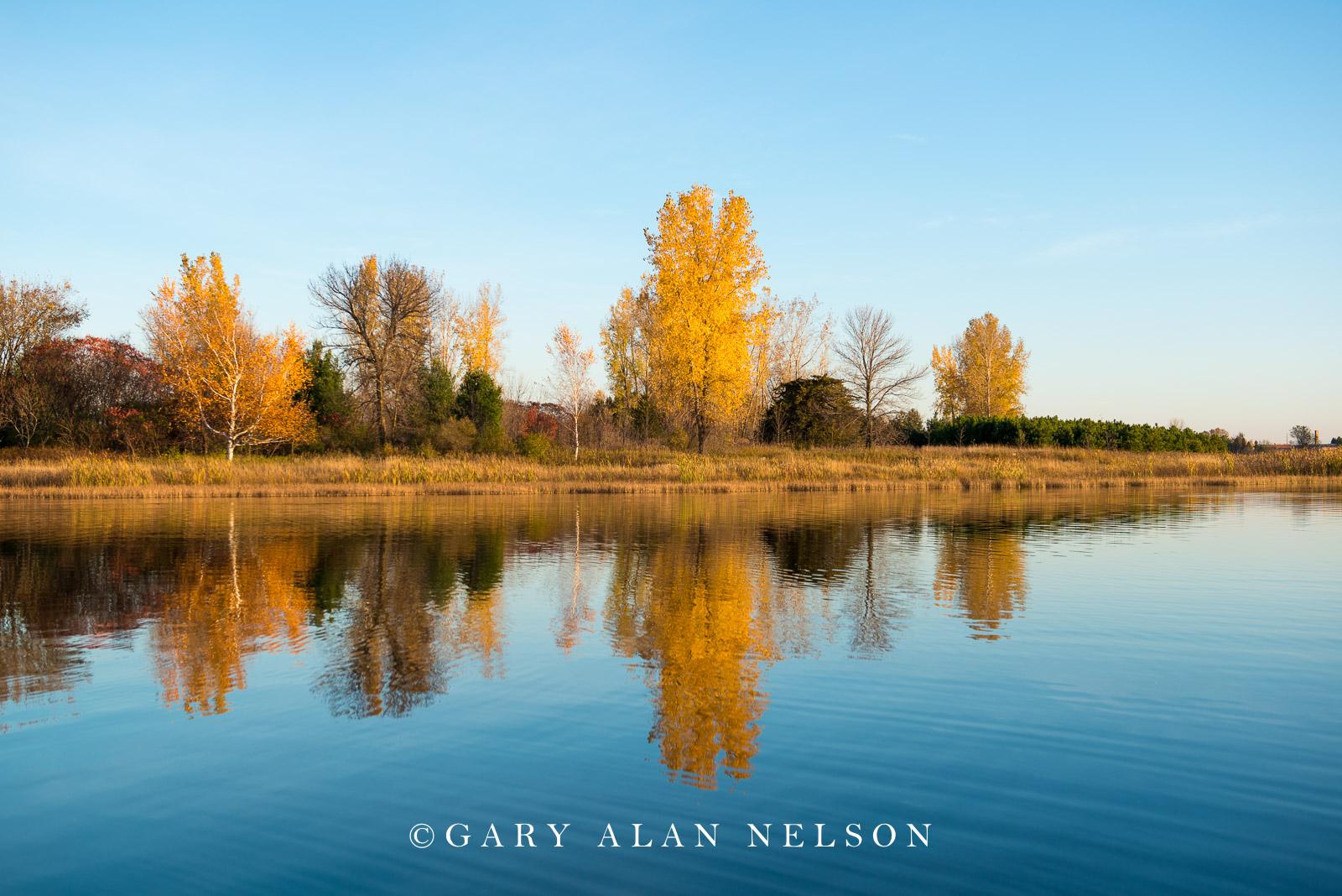 Autumn reflections in North Center Lake, Allemansratt Park, Lindstrom, Minnesota