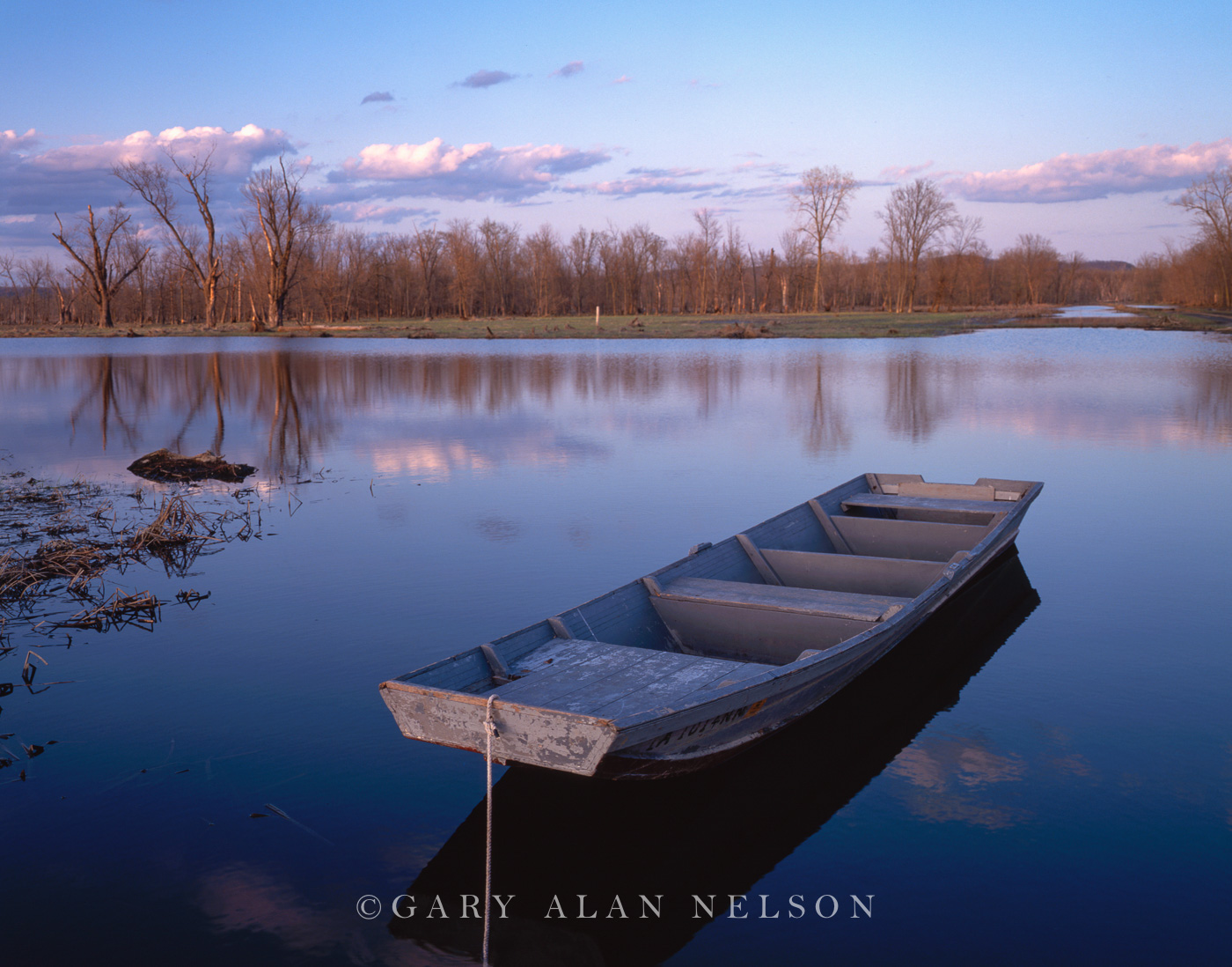 flatboat, slough, wildlife area, iowa, photo