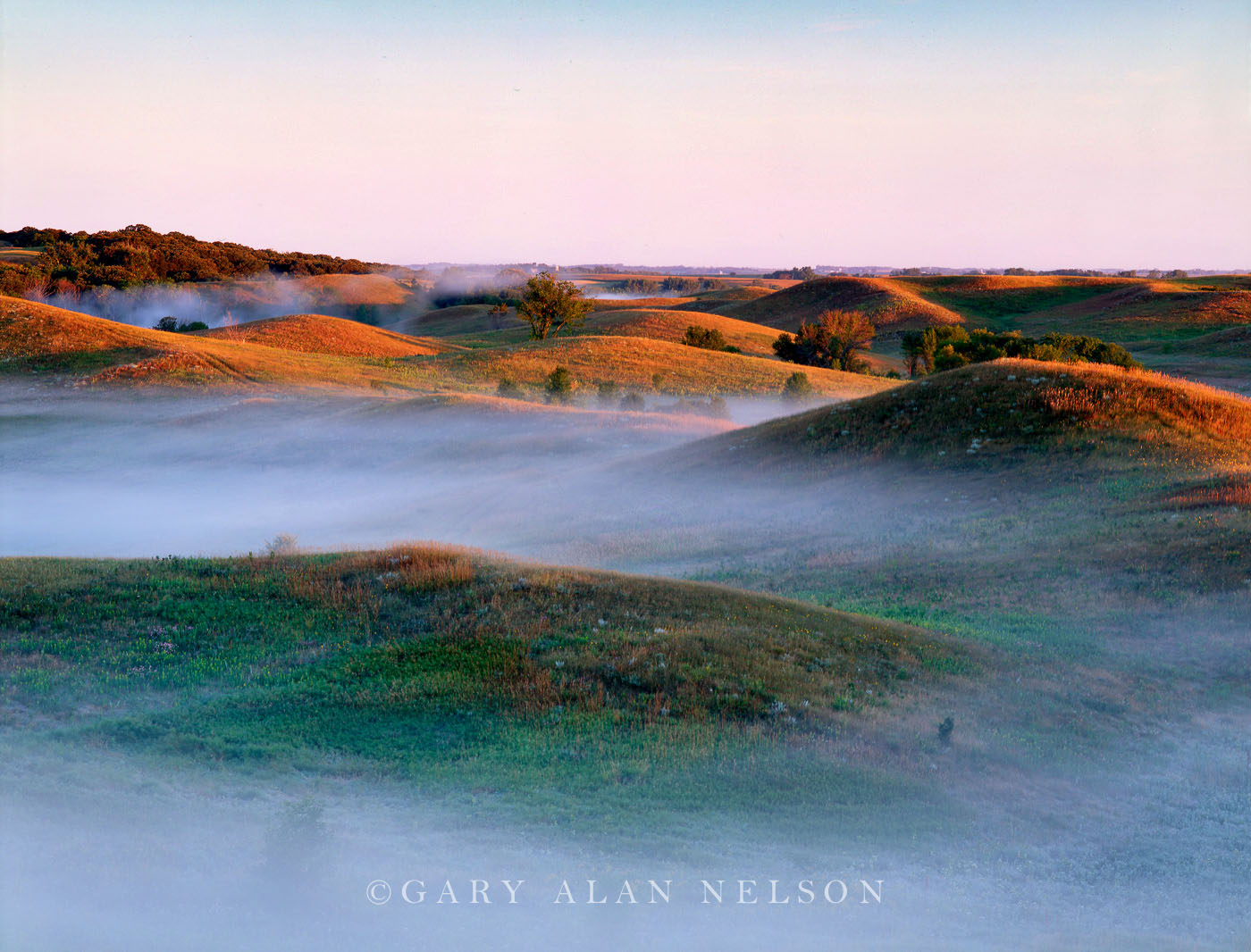 Low laying fog amidst the rolling glacial prairie landscpe of the Leaf Hills, Minnesota