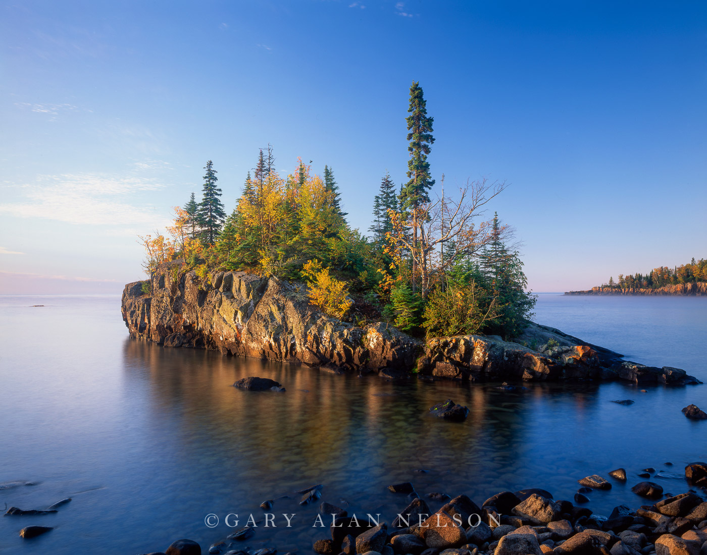 Island on the rugged shoreline of Lake Superior, Minnesota