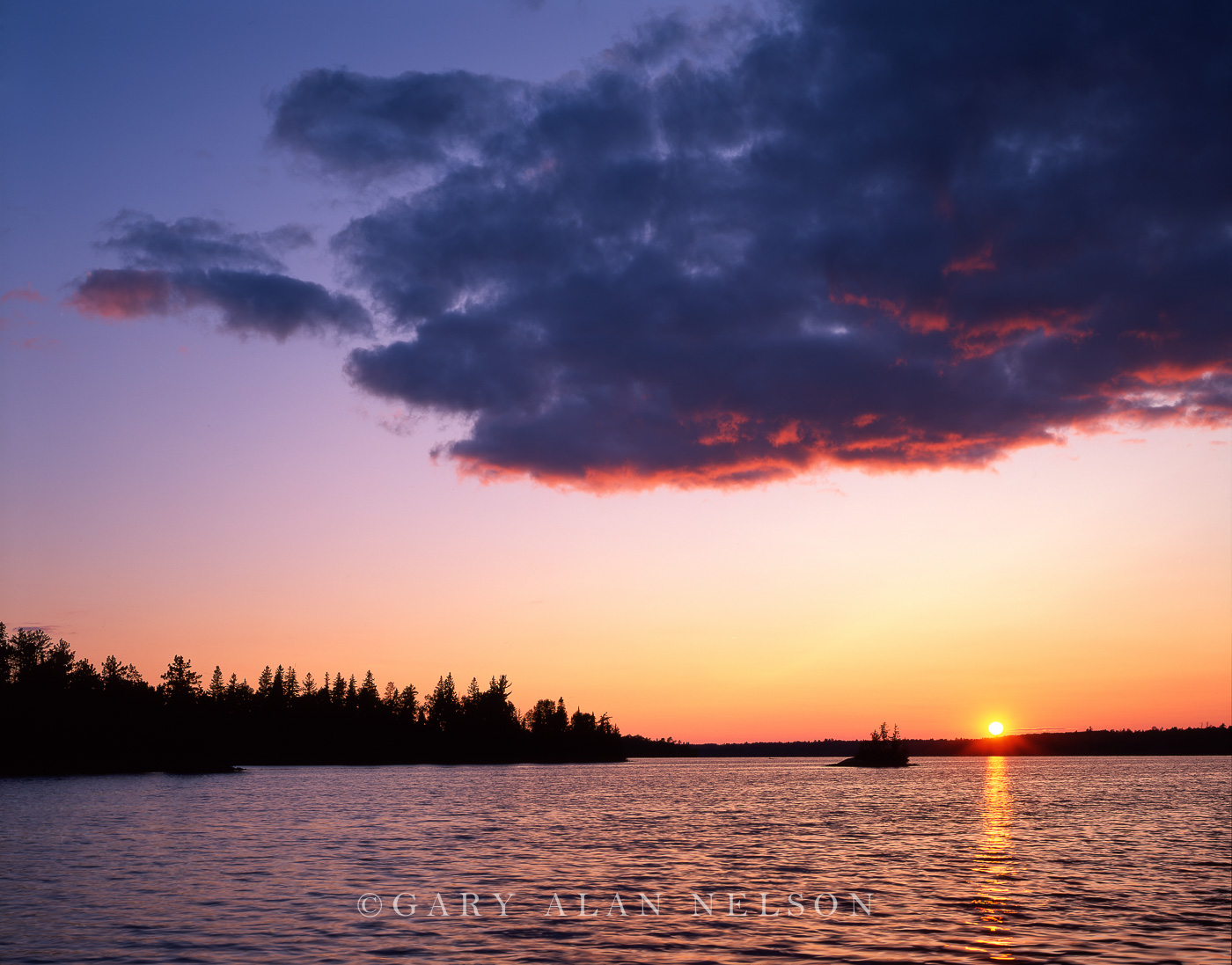 Sundown over Birch Lake, Superior National Forest, Minnesota