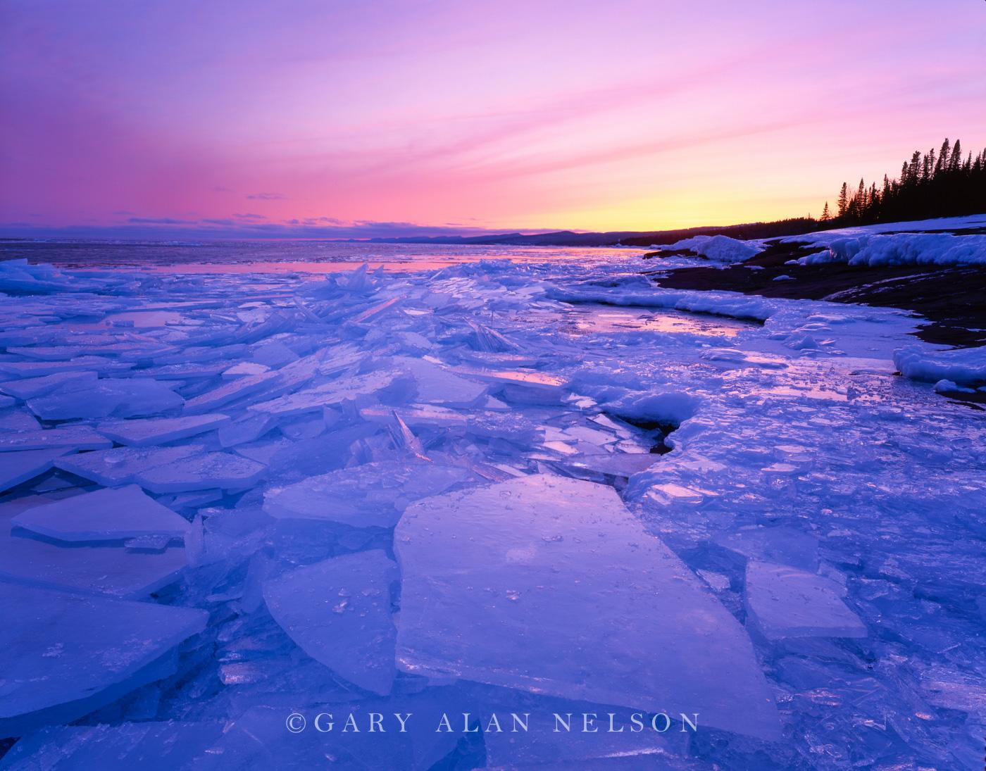 minnesota, lake superior, ice, dawn  , photo