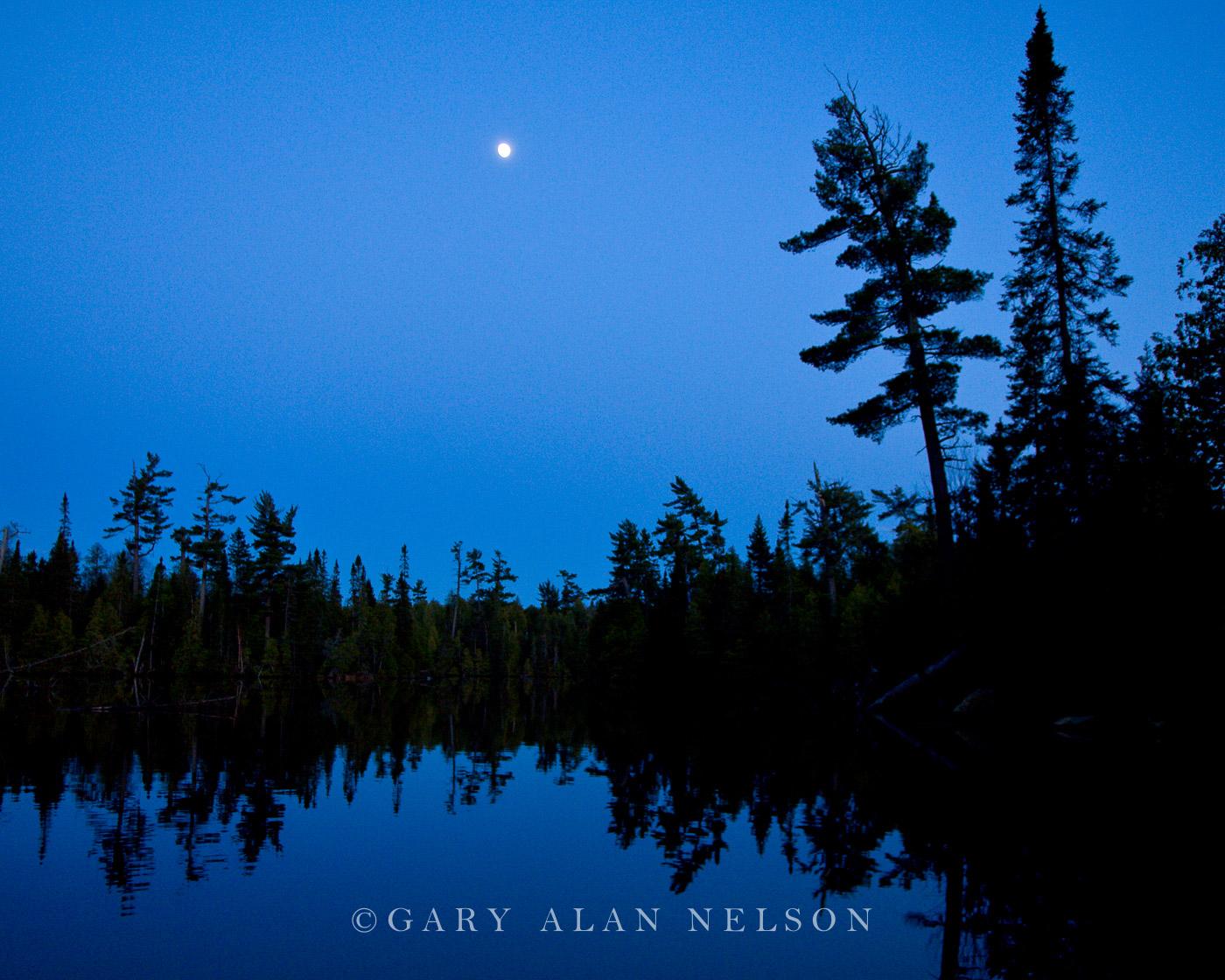 full moon, lake, minnesota, boundary waters , photo