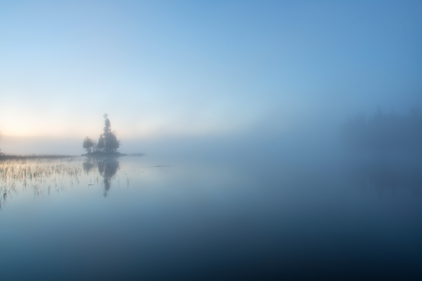 Island and fog at dawn, Birch Lake, Superior National Forest, Minnesota