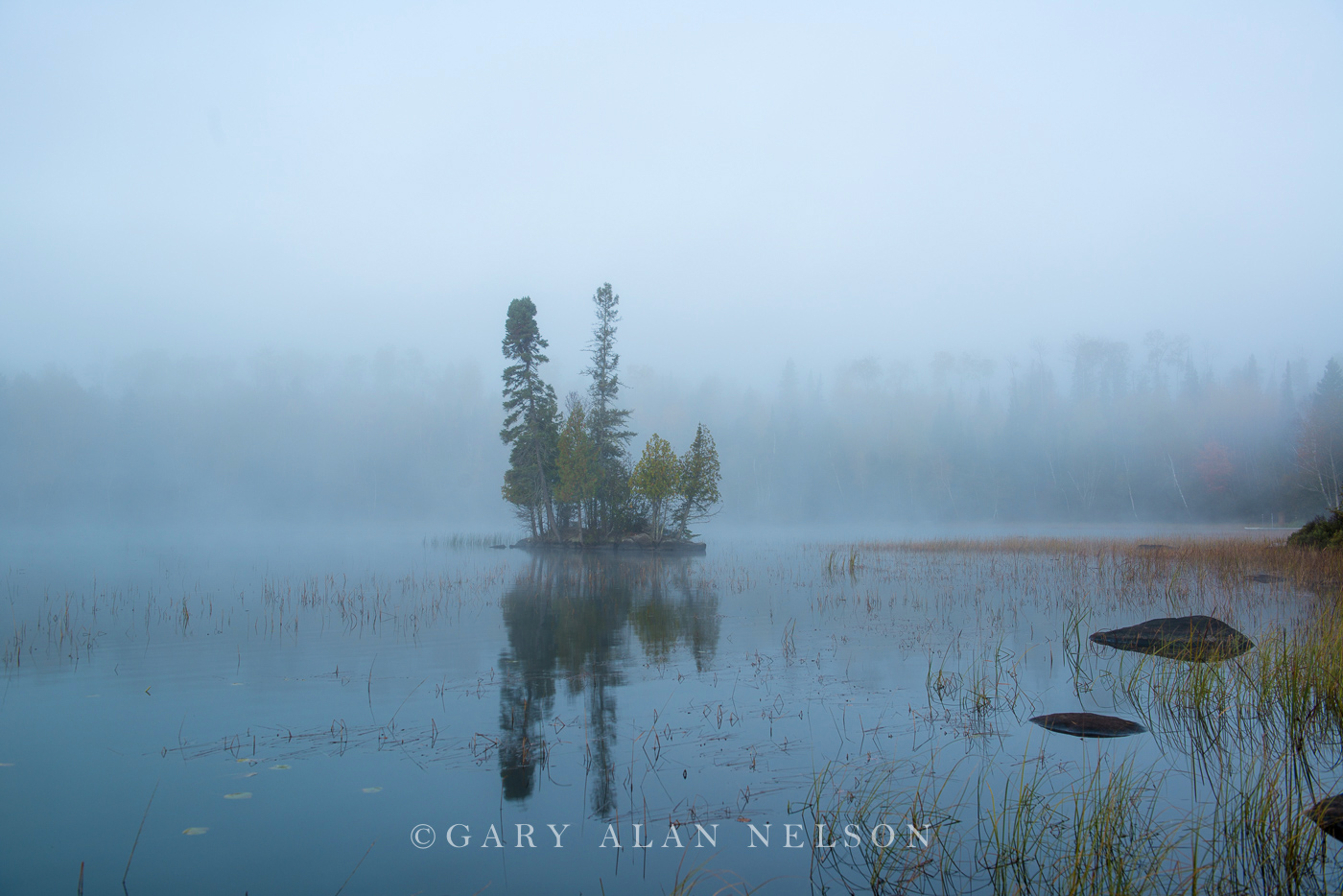 Island and fog at dawn, Superior National Forest, Minnesota