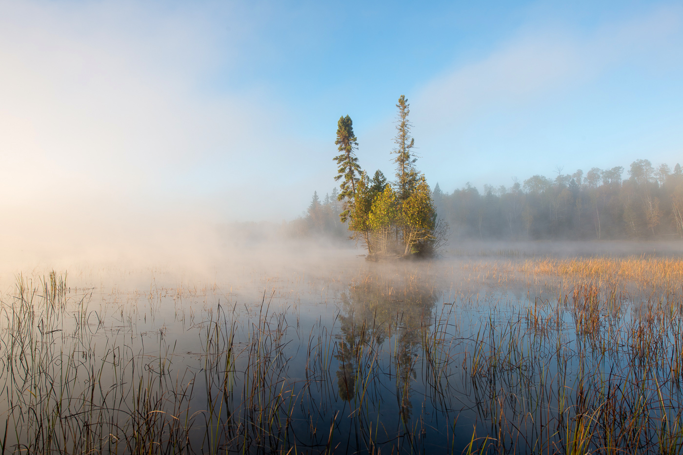 Sunrise, Superior National Forest, boundary waters, boundary waters canoe area, calm, dawn, fog, island, minnesota, national forest, reflections, water, wilderness, photo