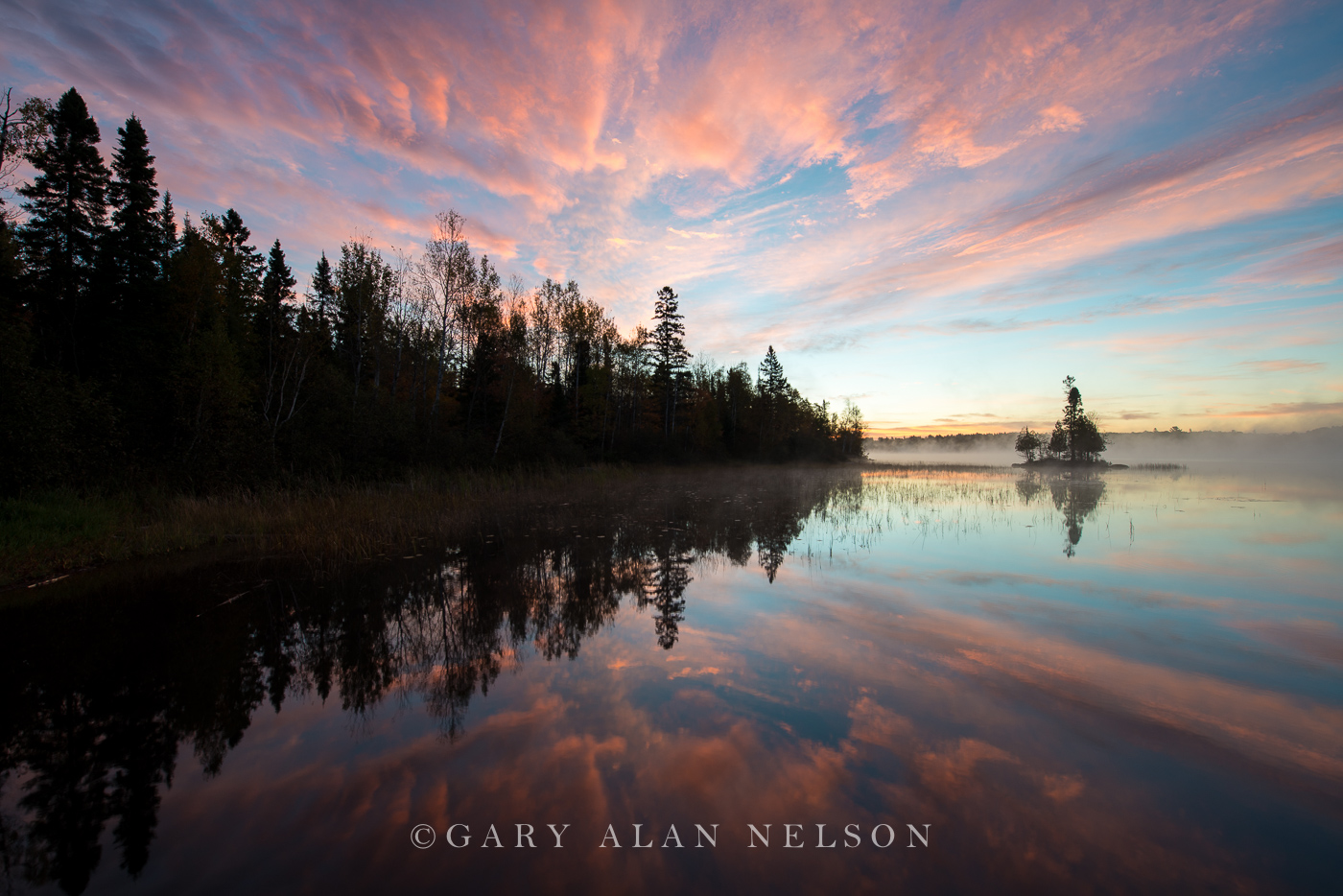 Island and the blush of dawn, Superior National Forest, Minnesota