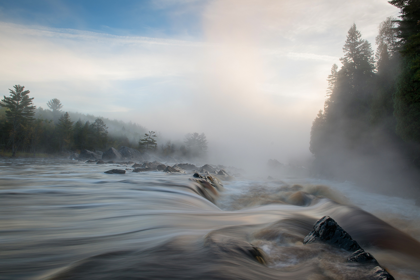 Morning fog on the St. Louis River, J. Cooke State Park, Minnesota
