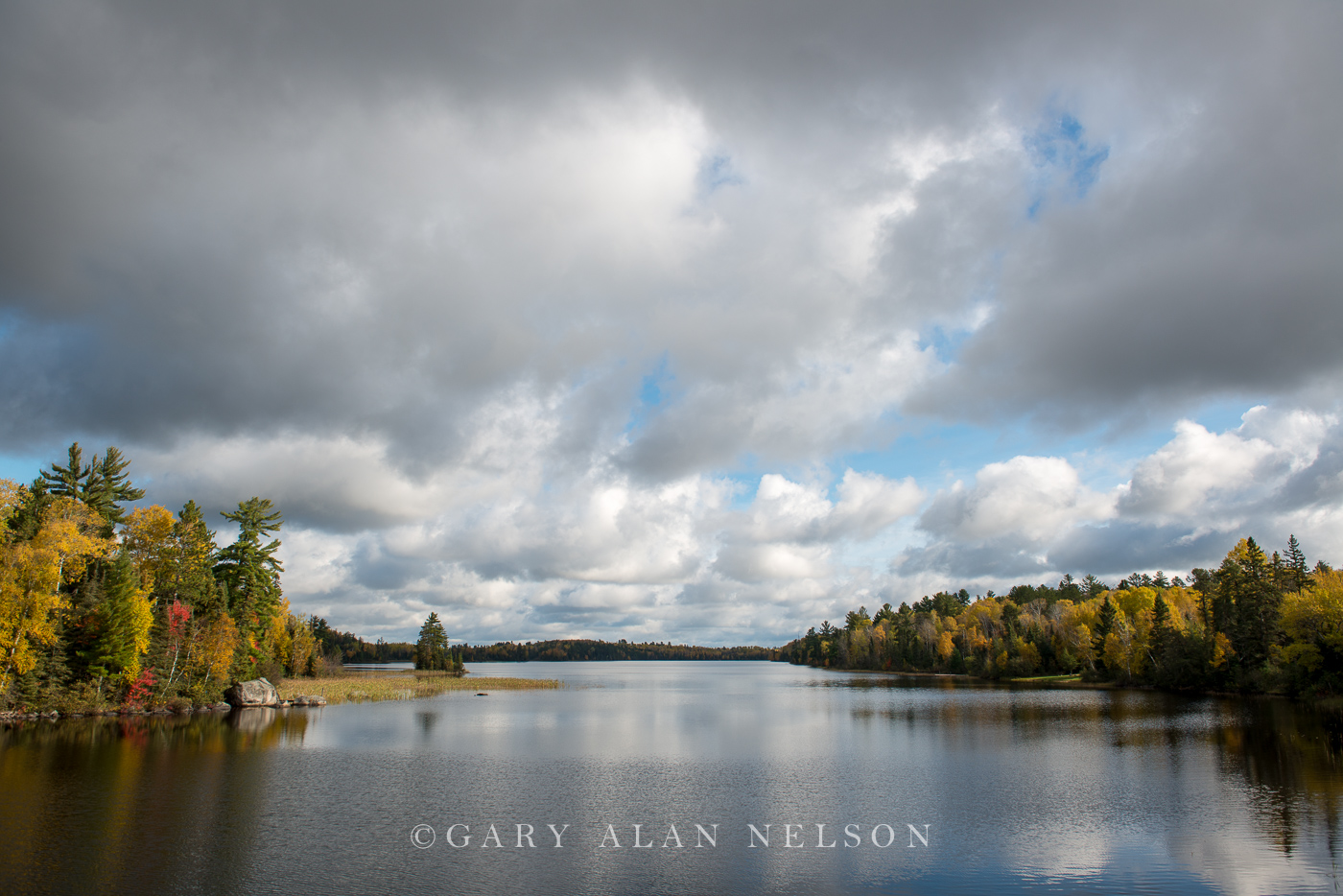 River,autumn,clouds,island,minnesota, superior national forest, photo