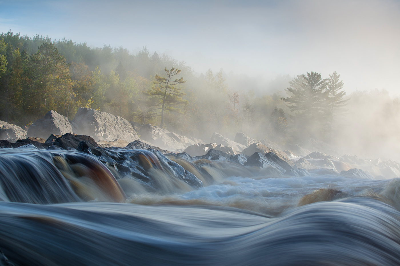 Morning fog and rapids on the St. Louis River, J. Cooke State Park, Minnesota