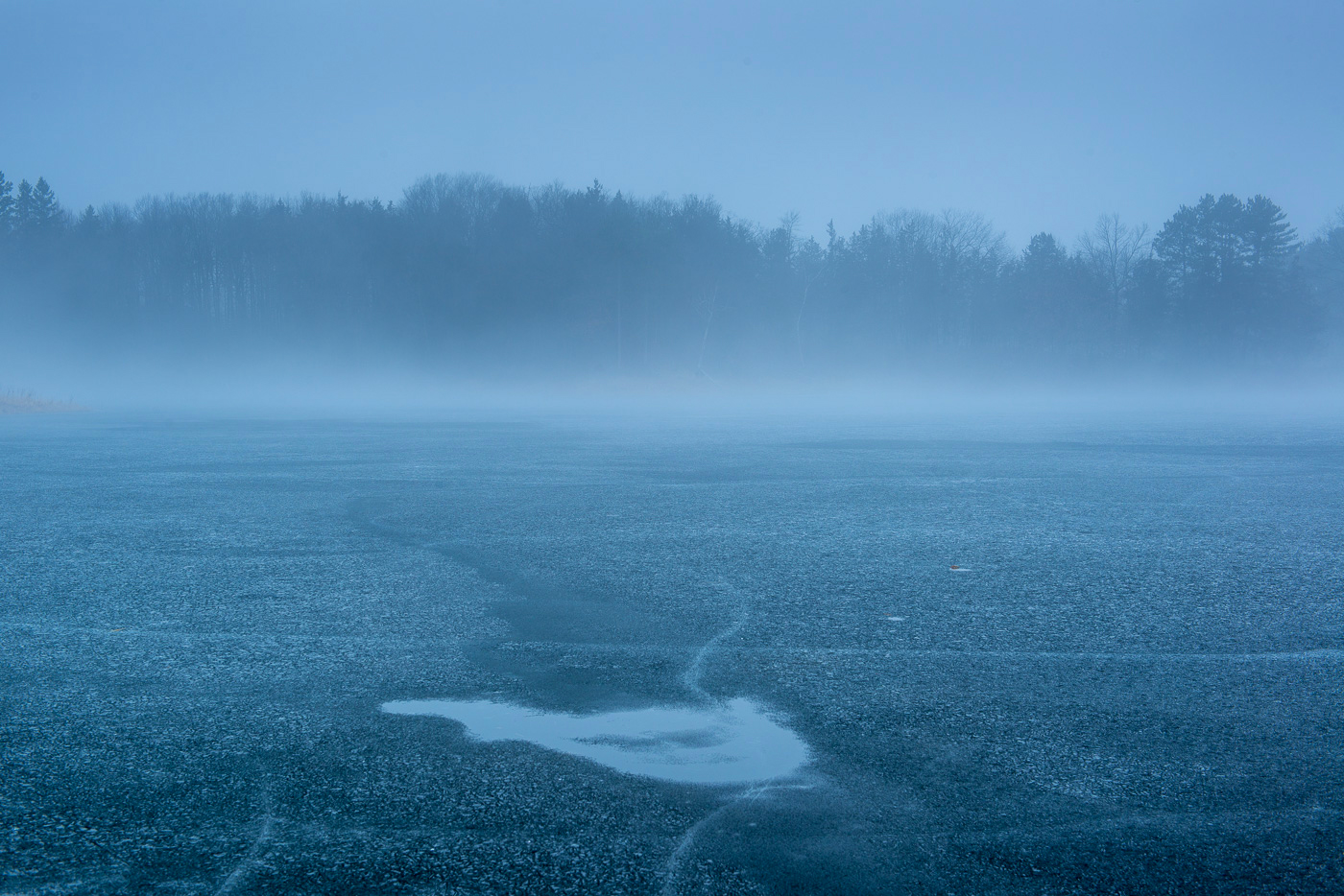 Ice and fog on Bull Lake, Allemansratt Park, Lindstrom, MN