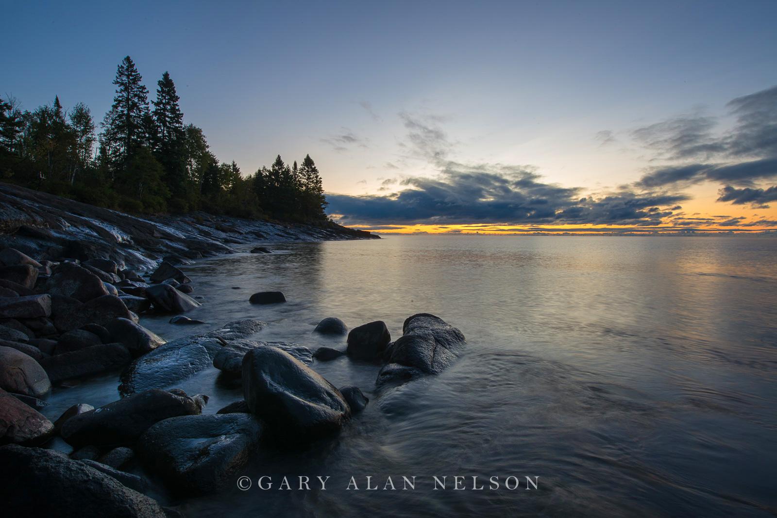 Sunrise over Lake Superior, Cascade River State Park, Minnesota