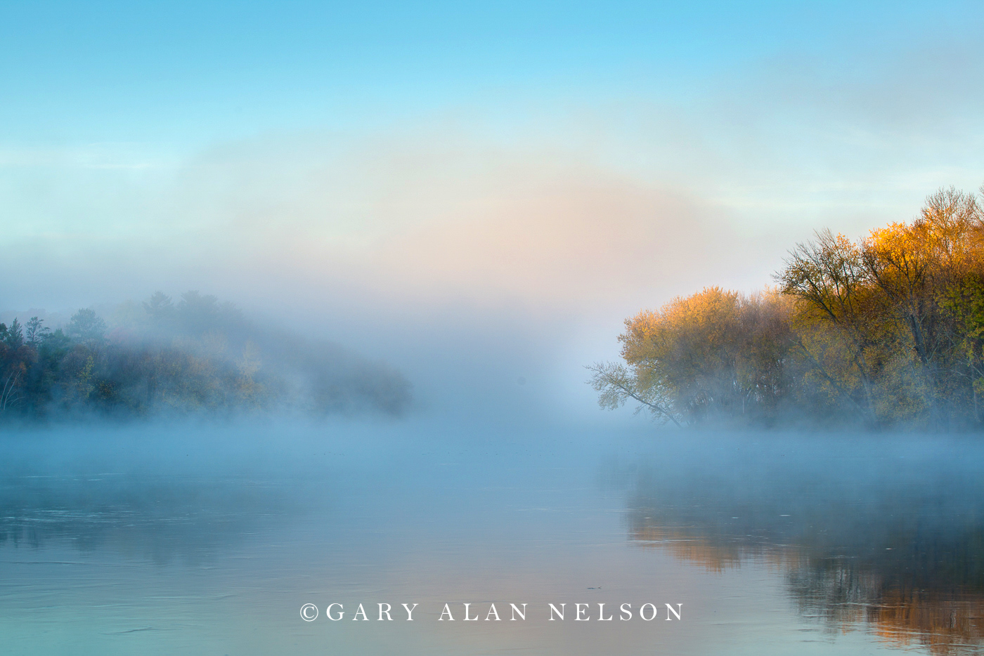 Fog over the Mississippi River in autumn, Crow Wing State Park, Minnesota.