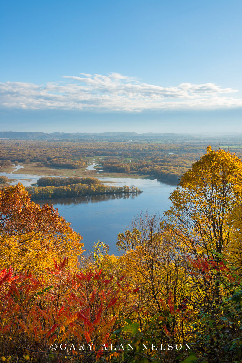 The Mississippi River from a bluff in the driftless area, Great River Bluffs State Park, Minnesota