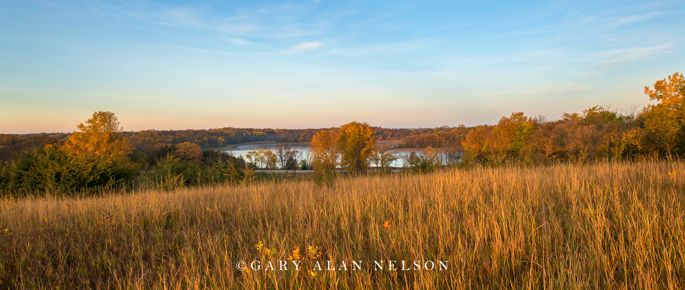 Prairie overlooking Henchien Lake in autumn, Sibley State Park, Minnesota