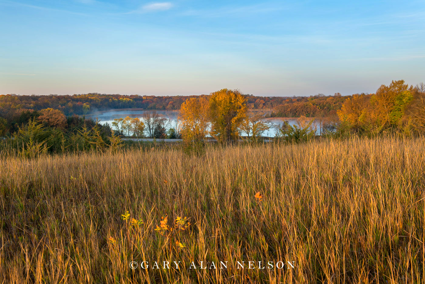 Prairie overlooking Henchien Lake in autumn, Sibley State Park, Minnesota