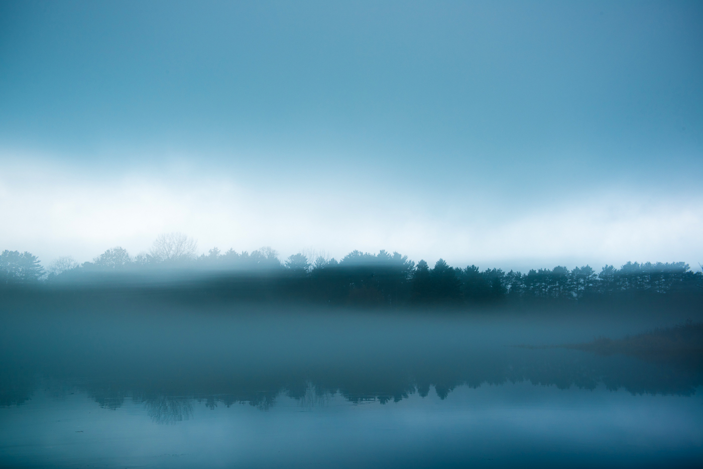 Fog over Bull Lake, Allemansratt Park, Lindstrom, Minnesota