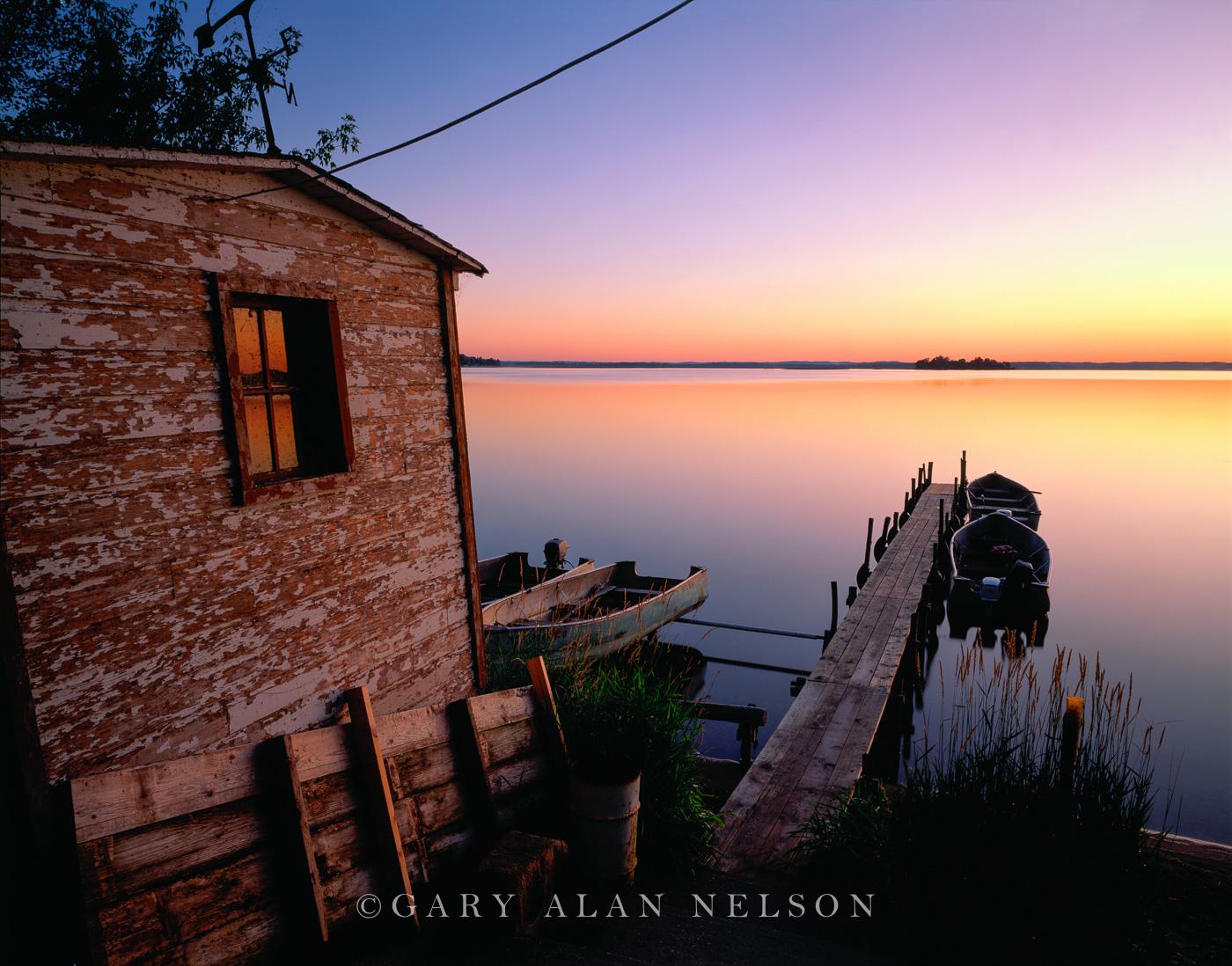 Boathouse and dock on Lake Lida, Otter Tail County, Minnesota